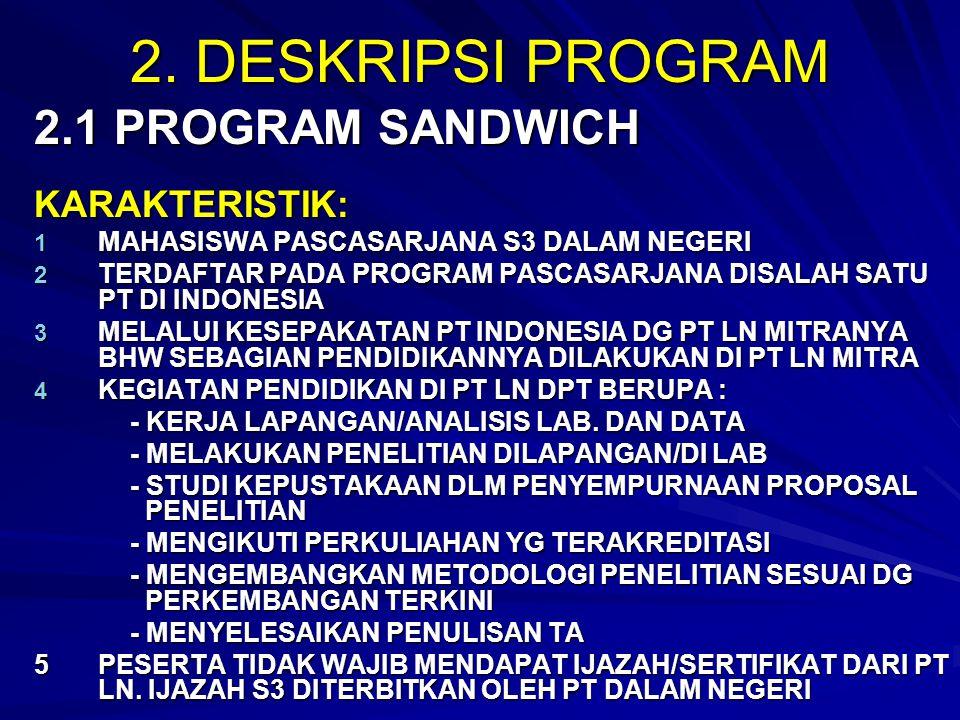 2. DESKRIPSI PROGRAM 2.1 PROGRAM SANDWICH KARAKTERISTIK: 1 MAHASISWA PASCASARJANA S3 DALAM NEGERI 2 TERDAFTAR PADA PROGRAM PASCASARJANA DISALAH SATU P