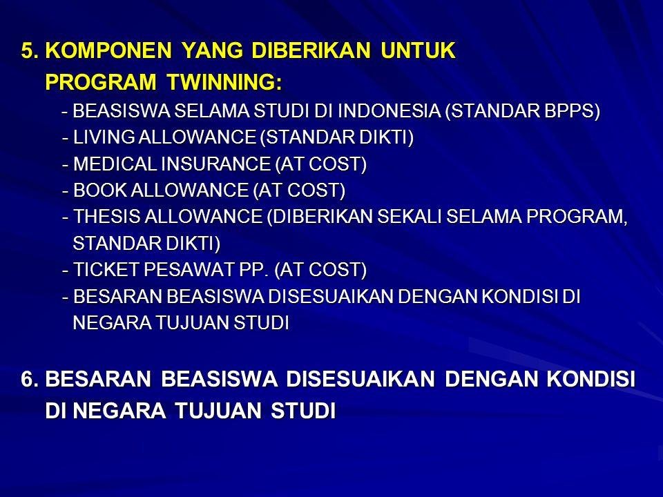 5. KOMPONEN YANG DIBERIKAN UNTUK PROGRAM TWINNING: PROGRAM TWINNING: - BEASISWA SELAMA STUDI DI INDONESIA (STANDAR BPPS) - BEASISWA SELAMA STUDI DI IN