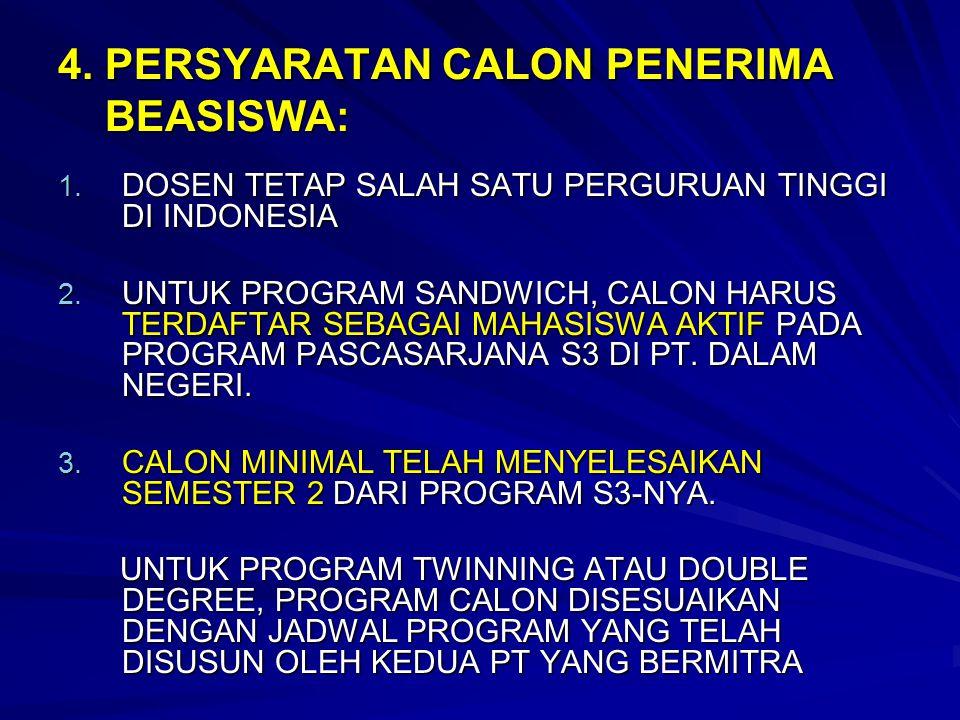 4. PERSYARATAN CALON PENERIMA BEASISWA: 1. DOSEN TETAP SALAH SATU PERGURUAN TINGGI DI INDONESIA 2. UNTUK PROGRAM SANDWICH, CALON HARUS TERDAFTAR SEBAG