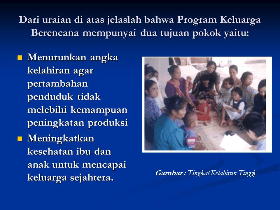 Dari uraian di atas jelaslah bahwa Program Keluarga Berencana mempunyai dua tujuan pokok yaitu:  Menurunkan angka kelahiran agar pertambahan penduduk