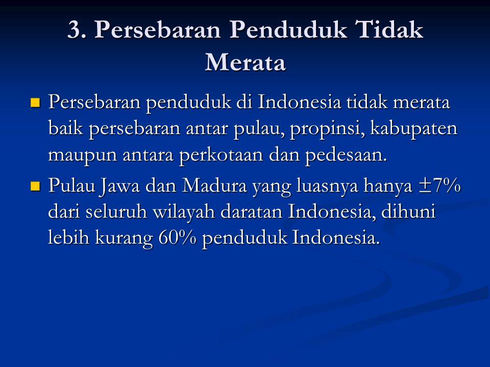 3. Persebaran Penduduk Tidak Merata  Persebaran penduduk di Indonesia tidak merata baik persebaran antar pulau, propinsi, kabupaten maupun antara per
