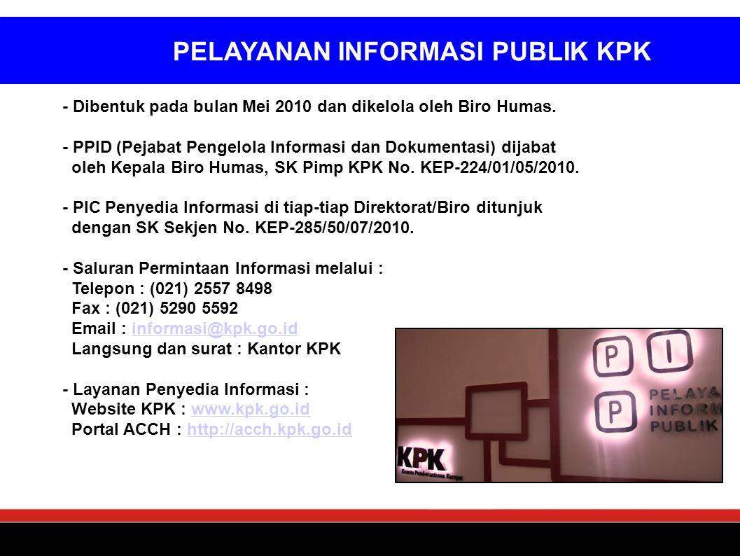 - Dibentuk pada bulan Mei 2010 dan dikelola oleh Biro Humas. - PPID (Pejabat Pengelola Informasi dan Dokumentasi) dijabat oleh Kepala Biro Humas, SK P