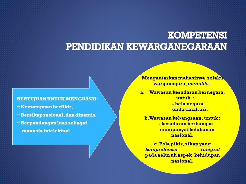 MISI PENDIDIKAN KEWARGANEGARAAN Membantu mahasiswa selaku warganegara, agar mampu : mmewujudkan nilai-nilai dasar perjuangan bangsa Indonesia, mme