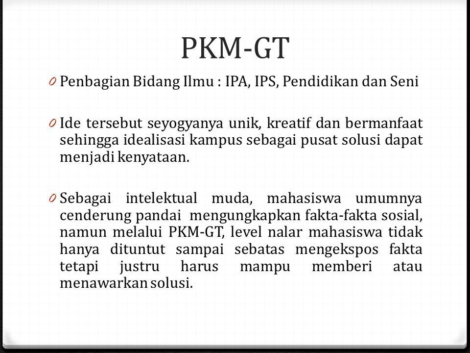 Tugas Individu PKM-KT 2014 0 PKM-GT merupakan program penulisan artikel ilmiah yang bersumber dari ide atau gagasan kelompok mahasiswa. Gagasan yang d