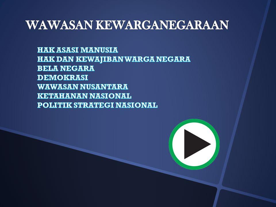 WAWASAN KEWARGA- NEGARAAN INDONESIA PERCAYA DIRI SBG BANGSA KOMITMEN BELA NEGARA KETERAMPILAN KEWARGANEGARAAN PARTISIPASI SOSPOL SIKAP DAN TANGGUNG JA