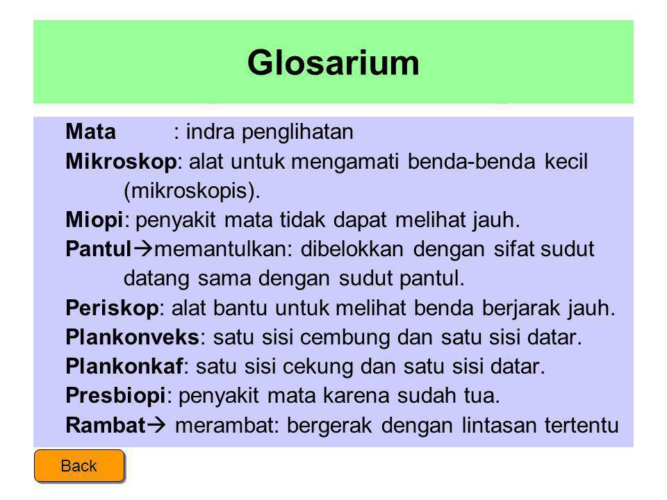 Glosarium  Bias  indeks bias: perbandingan kelajuan cahaya di udara dengan di zat tersebut.  Cahaya: sesuatu yang dikeluarkan oleh benda berpijar.