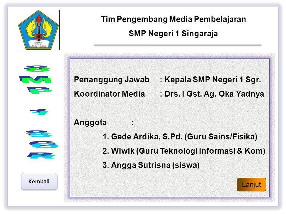 Petunjuk Penggunaan Bahan Ajar (Garis-Garis Besar Instruksional Media) Selesai  Materi ini sesuai dengan KTSP SMP Negeri 1 Singaraja  Dilihat dari p