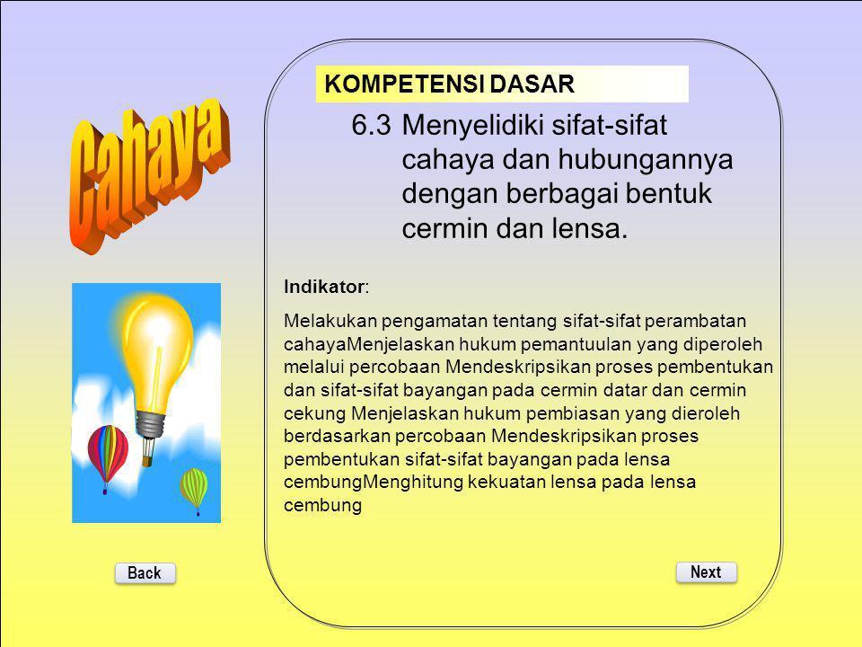 6.4 Mendeskripsikan alat-alat optik dan penerapannya dalam kehidupan sehari- hari. 6.3 Menyelidiki sifat-sifat cahaya dan hubungannya dengan berbagai