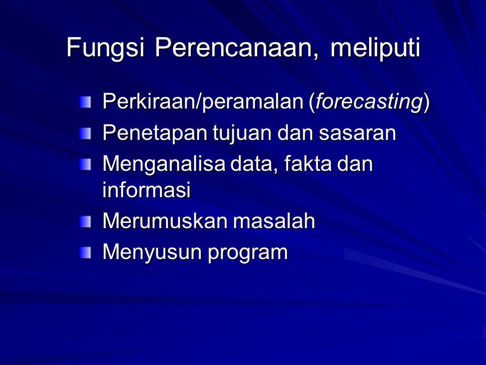 Fungsi Perencanaan, meliputi Perkiraan/peramalan (forecasting) Penetapan tujuan dan sasaran Menganalisa data, fakta dan informasi Merumuskan masalah M