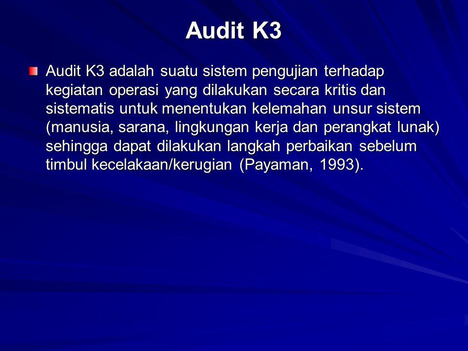 Audit K3 Audit K3 adalah suatu sistem pengujian terhadap kegiatan operasi yang dilakukan secara kritis dan sistematis untuk menentukan kelemahan unsur