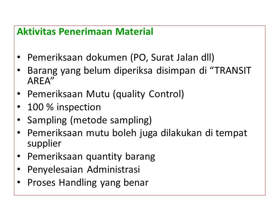 """Aktivitas Penerimaan Material • Pemeriksaan dokumen (PO, Surat Jalan dll) • Barang yang belum diperiksa disimpan di """"TRANSIT AREA"""" • Pemeriksaan Mutu"""