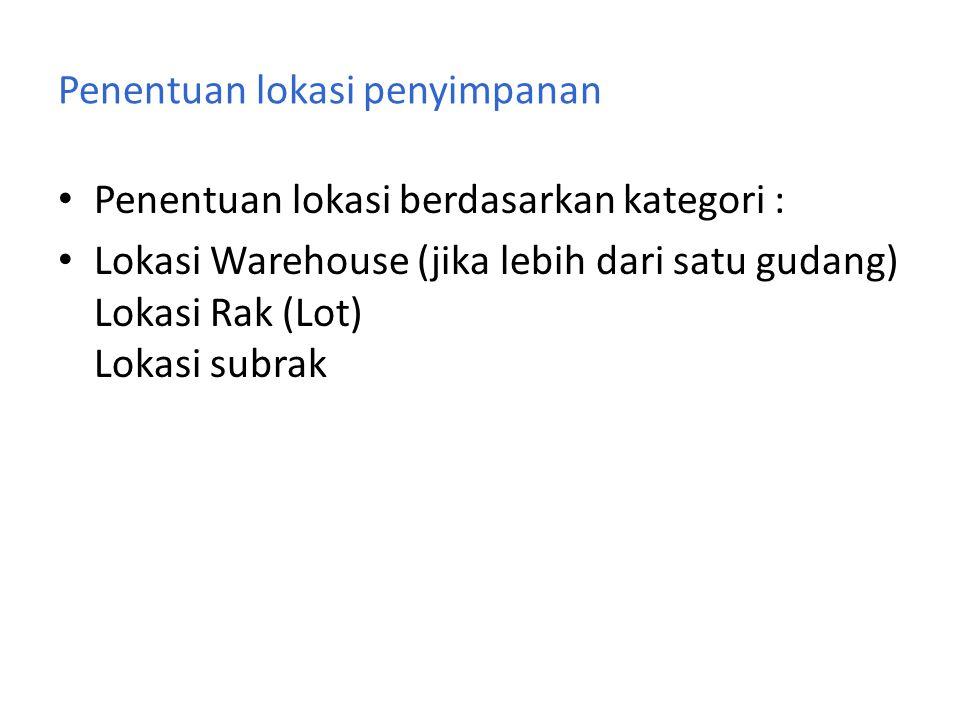 Penentuan lokasi penyimpanan • Penentuan lokasi berdasarkan kategori : • Lokasi Warehouse (jika lebih dari satu gudang) Lokasi Rak (Lot) Lokasi subrak