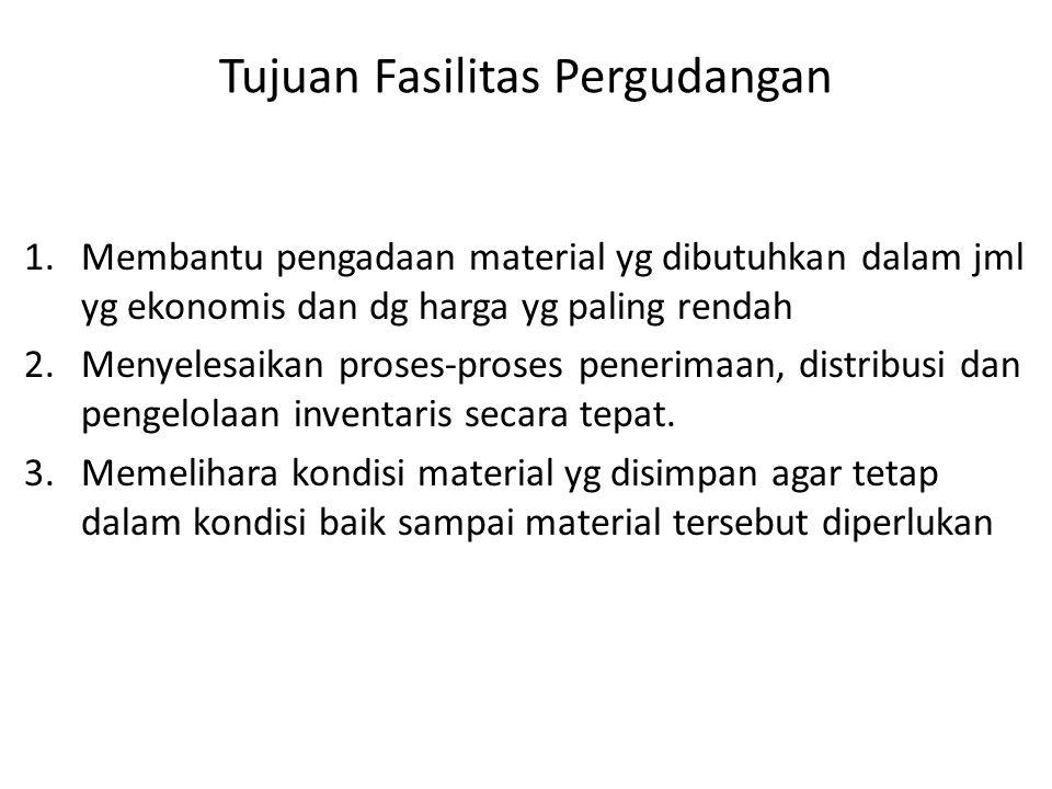 Tujuan Fasilitas Pergudangan 1.Membantu pengadaan material yg dibutuhkan dalam jml yg ekonomis dan dg harga yg paling rendah 2.Menyelesaikan proses-pr