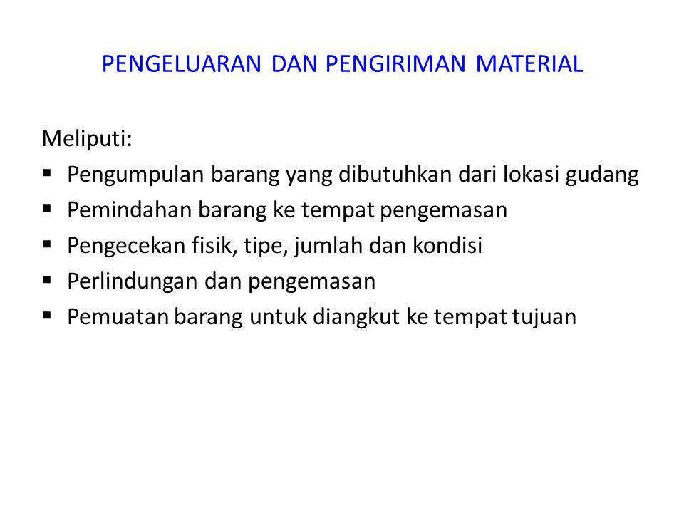 PENGELUARAN DAN PENGIRIMAN MATERIAL Meliputi:  Pengumpulan barang yang dibutuhkan dari lokasi gudang  Pemindahan barang ke tempat pengemasan  Penge