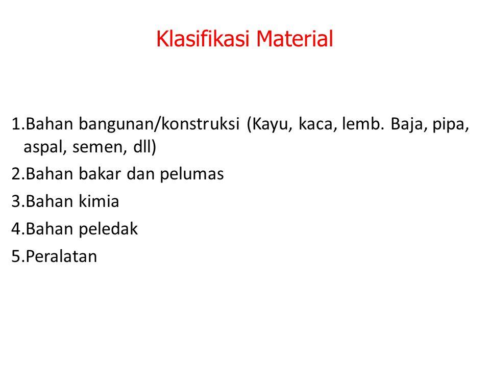 Klasifikasi Material 1.Bahan bangunan/konstruksi (Kayu, kaca, lemb. Baja, pipa, aspal, semen, dll) 2.Bahan bakar dan pelumas 3.Bahan kimia 4.Bahan pel
