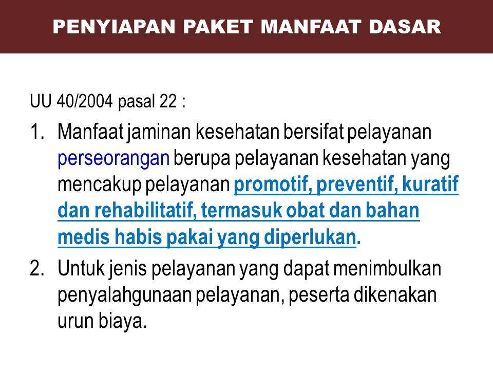 UU 40/2004 pasal 22 : 1.Manfaat jaminan kesehatan bersifat pelayanan perseorangan berupa pelayanan kesehatan yang mencakup pelayanan promotif, prevent