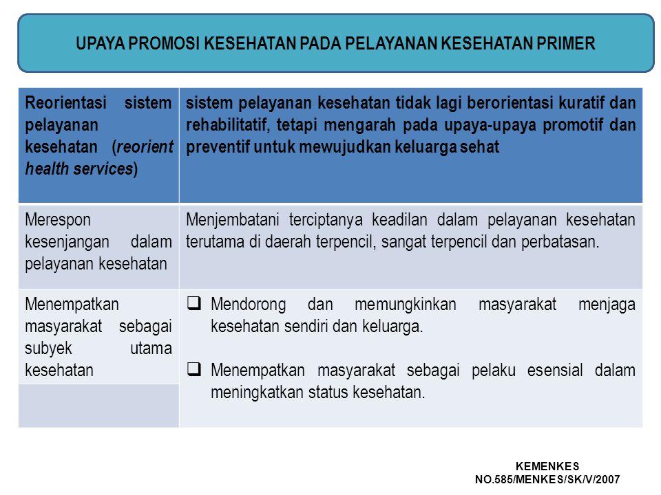 Reorientasi sistem pelayanan kesehatan ( reorient health services ) sistem pelayanan kesehatan tidak lagi berorientasi kuratif dan rehabilitatif, teta