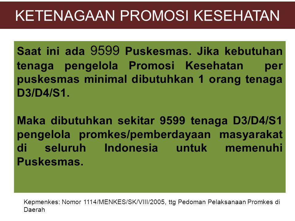 KETENAGAAN PROMOSI KESEHATAN Saat ini ada 9599 Puskesmas. Jika kebutuhan tenaga pengelola Promosi Kesehatan per puskesmas minimal dibutuhkan 1 orang t