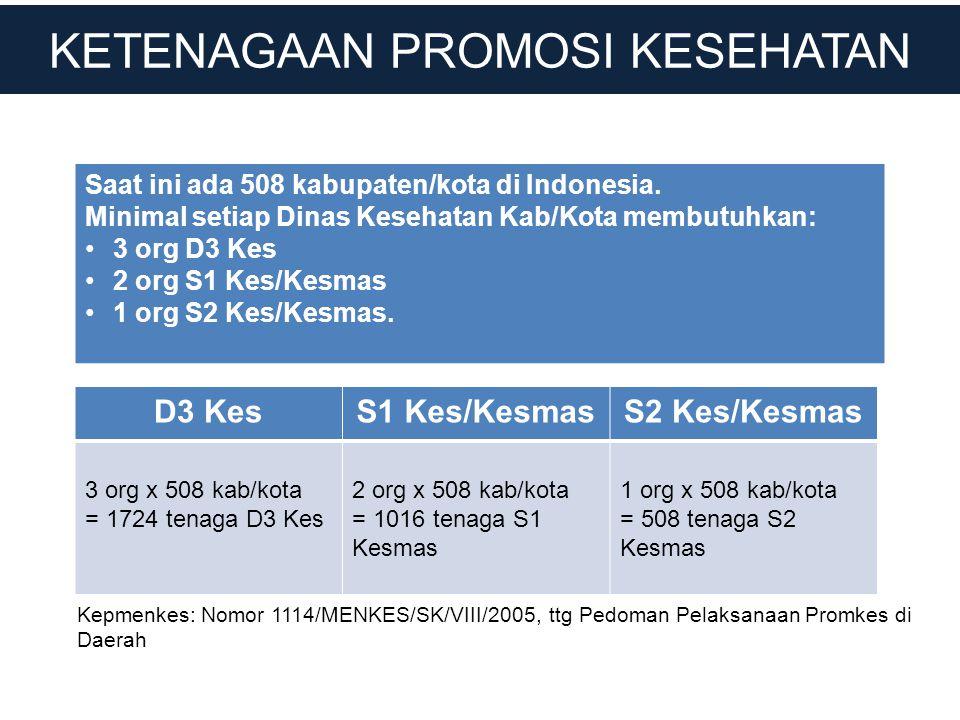 KETENAGAAN PROMOSI KESEHATAN Saat ini ada 508 kabupaten/kota di Indonesia. Minimal setiap Dinas Kesehatan Kab/Kota membutuhkan: •3 org D3 Kes •2 org S