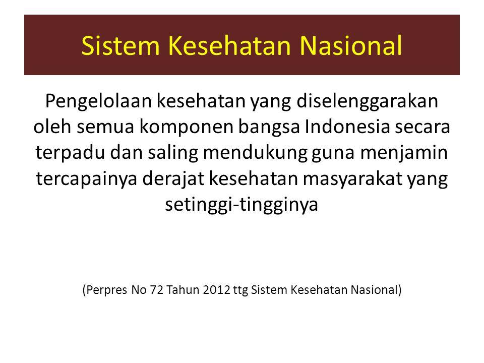 Sistem Kesehatan Nasional Pengelolaan kesehatan yang diselenggarakan oleh semua komponen bangsa Indonesia secara terpadu dan saling mendukung guna men
