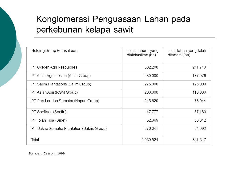 Konglomerasi Penguasaan Lahan pada perkebunan kelapa sawit Holding Group PerusahaanTotal lahan yang dialokasikan (ha) Total lahan yang telah ditanami