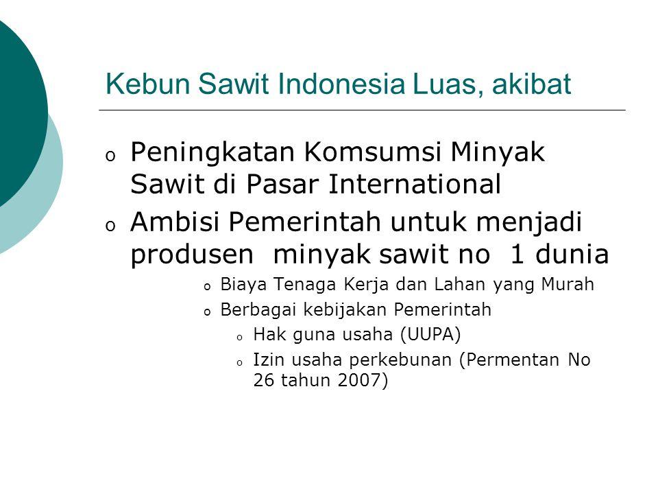 Perkembangan Industri Sawit Indonesia o Investasi melibatkan 155 lembaga keuangan dari 24 negara dengan nilai investasi diperkirakan US$ 3,725 juta o Diperkirakan sampai dengan tahun 2007 luas areal perkebunan kelapa sawit Indonesia mencapai 7,6 juta ha o Produksi CPO mencapai 11 juta ton dengan nilai eksport Rp 27 triliun tahun 2005 o Total 20 Juta ha perkebunan kelapa sawit sebagai target pemerintah (Sawit Watch, 2006)