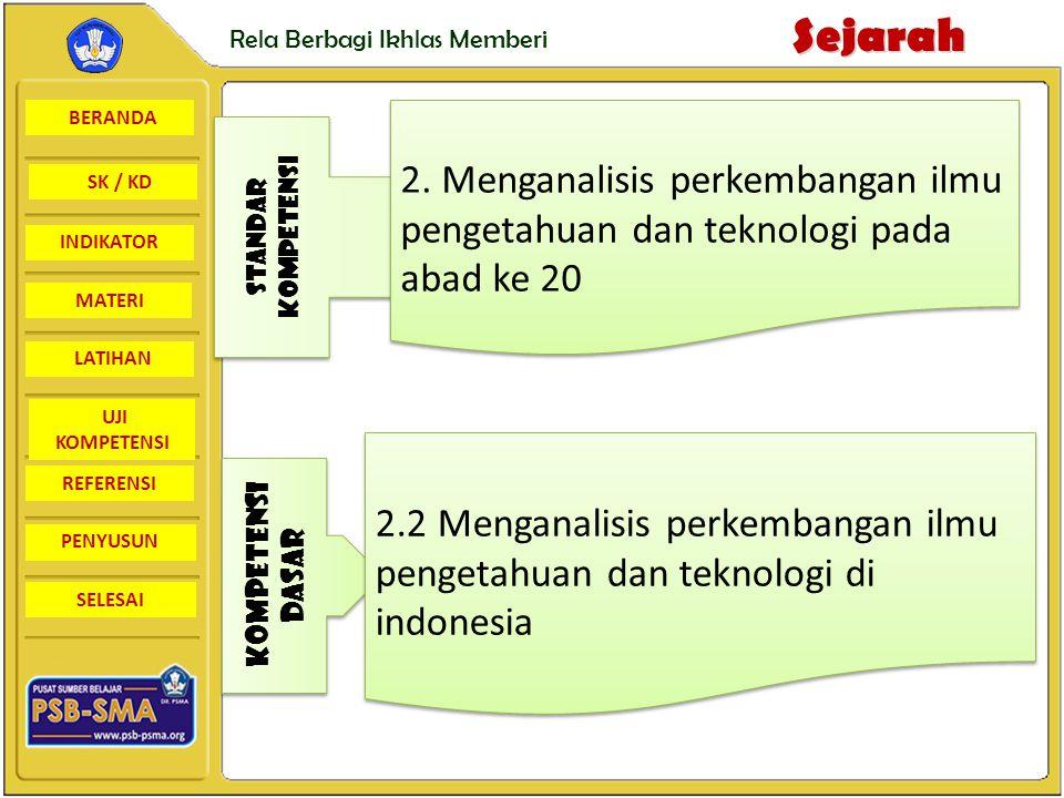 BERANDA SK / KD INDIKATORSejarah Rela Berbagi Ikhlas Memberi MATERI LATIHAN UJI KOMPETENSI REFERENSI PENYUSUN SELESAI Latihan • Pembangunan telekomunikasi merupakan suatu keharusan karena : Jawab : •Sebagai Negara kepulauan dengan pulau – pulau yang berpencar •Perlu adanya layanan yang efektif dan efesien, dan untuk mengejar ketertinggalan Indonesia di bandingkan Negara lain.