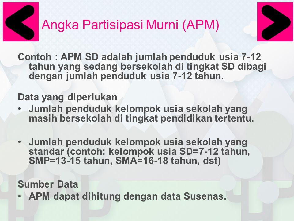 Angka Partisipasi Murni (APM) Contoh : APM SD adalah jumlah penduduk usia 7-12 tahun yang sedang bersekolah di tingkat SD dibagi dengan jumlah pendudu