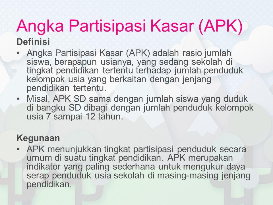 Definisi •Angka Partisipasi Kasar (APK) adalah rasio jumlah siswa, berapapun usianya, yang sedang sekolah di tingkat pendidikan tertentu terhadap juml