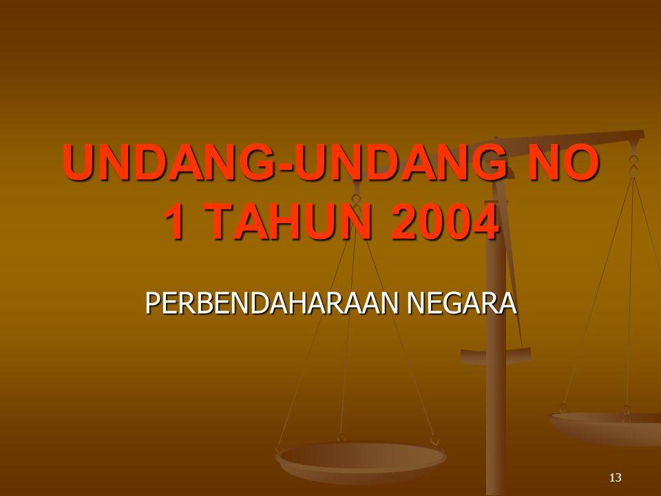 13 UNDANG-UNDANG NO 1 TAHUN 2004 PERBENDAHARAAN NEGARA