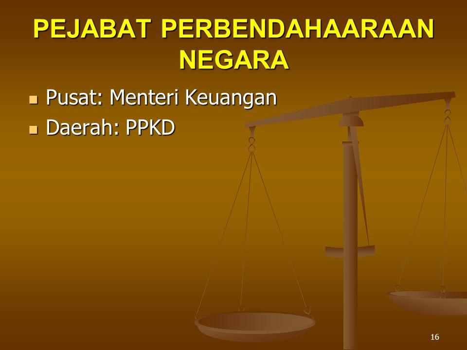 16 PEJABAT PERBENDAHAARAAN NEGARA  Pusat: Menteri Keuangan  Daerah: PPKD