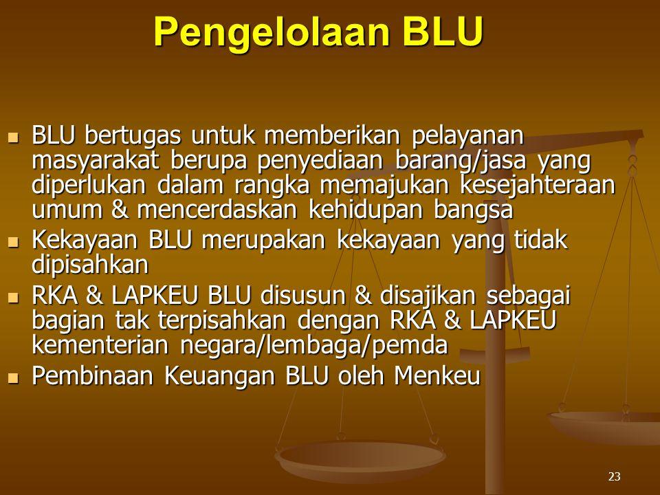 23 Pengelolaan BLU  BLU bertugas untuk memberikan pelayanan masyarakat berupa penyediaan barang/jasa yang diperlukan dalam rangka memajukan kesejahteraan umum & mencerdaskan kehidupan bangsa  Kekayaan BLU merupakan kekayaan yang tidak dipisahkan  RKA & LAPKEU BLU disusun & disajikan sebagai bagian tak terpisahkan dengan RKA & LAPKEU kementerian negara/lembaga/pemda  Pembinaan Keuangan BLU oleh Menkeu