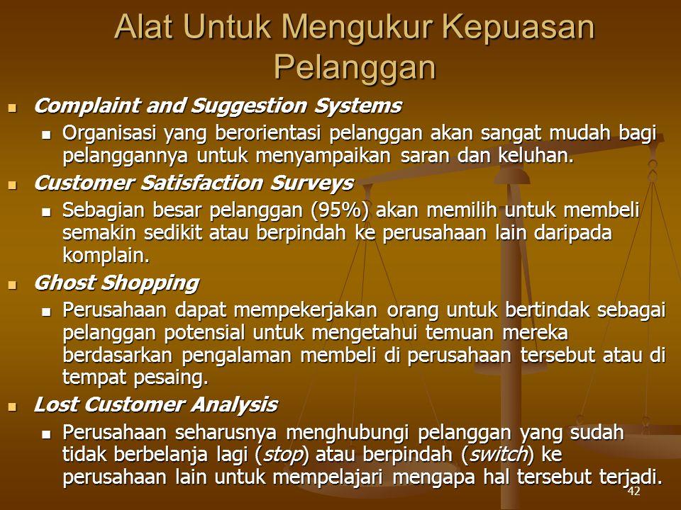 42 Alat Untuk Mengukur Kepuasan Pelanggan  Complaint and Suggestion Systems  Organisasi yang berorientasi pelanggan akan sangat mudah bagi pelanggannya untuk menyampaikan saran dan keluhan.