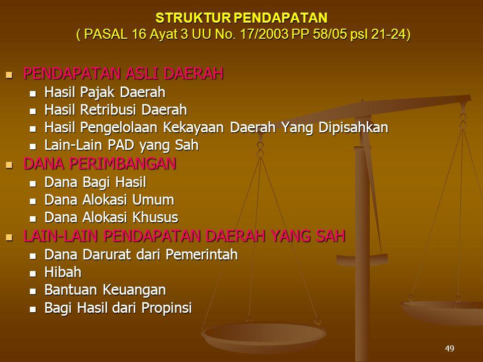 49 STRUKTUR PENDAPATAN ( PASAL 16 Ayat 3 UU No.