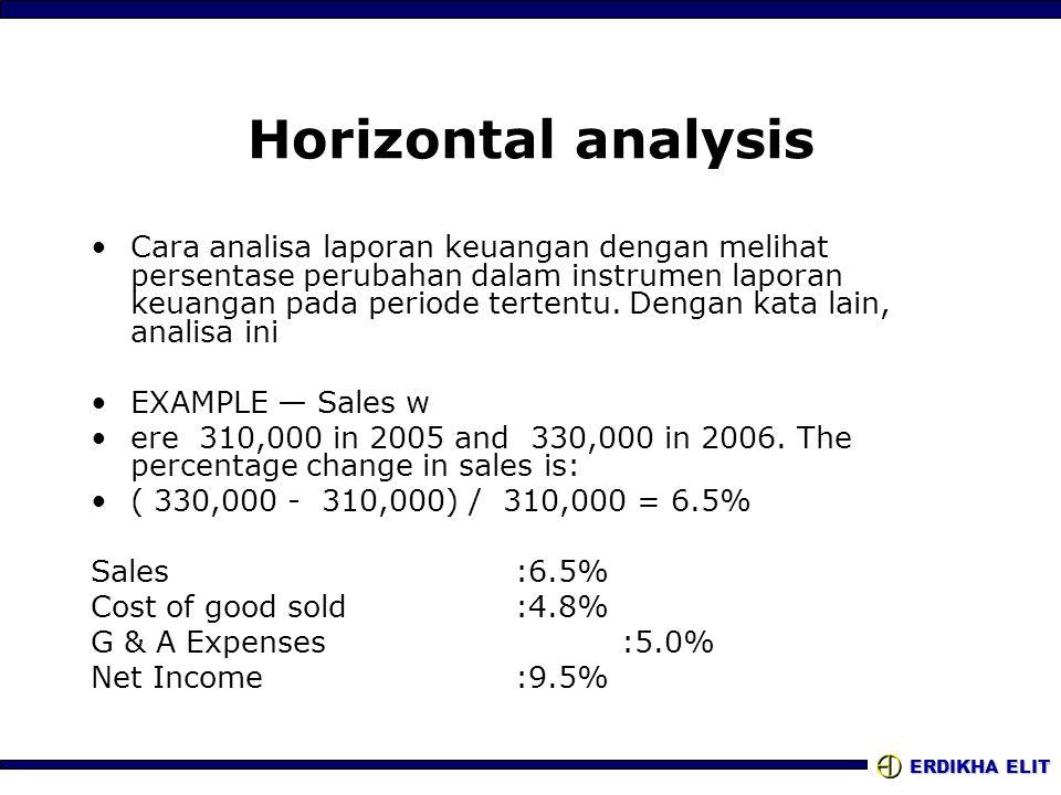 ERDIKHA ELIT Horizontal analysis •Cara analisa laporan keuangan dengan melihat persentase perubahan dalam instrumen laporan keuangan pada periode tert
