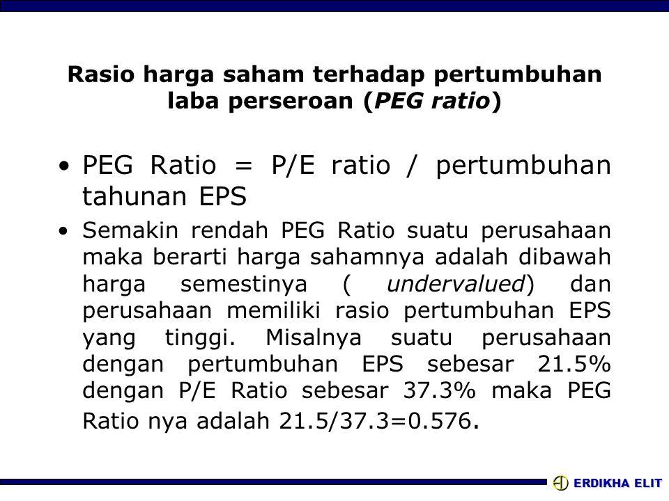 ERDIKHA ELIT Rasio harga saham terhadap pertumbuhan laba perseroan (PEG ratio) •PEG Ratio = P/E ratio / pertumbuhan tahunan EPS •Semakin rendah PEG Ra