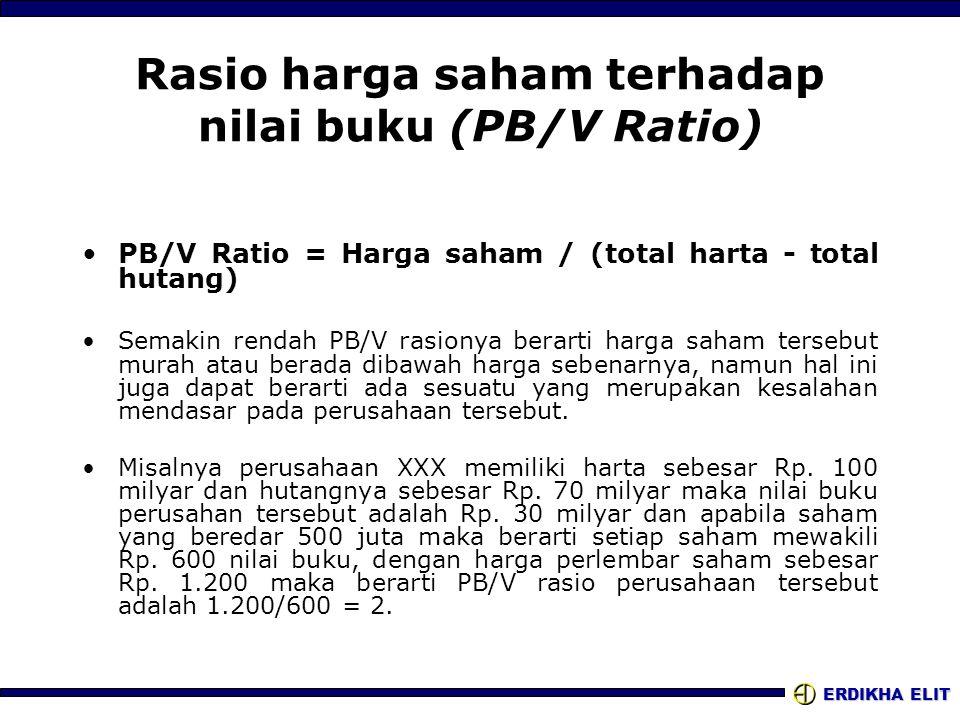 ERDIKHA ELIT Rasio harga saham terhadap nilai buku (PB/V Ratio) •PB/V Ratio = Harga saham / (total harta - total hutang) •Semakin rendah PB/V rasionya