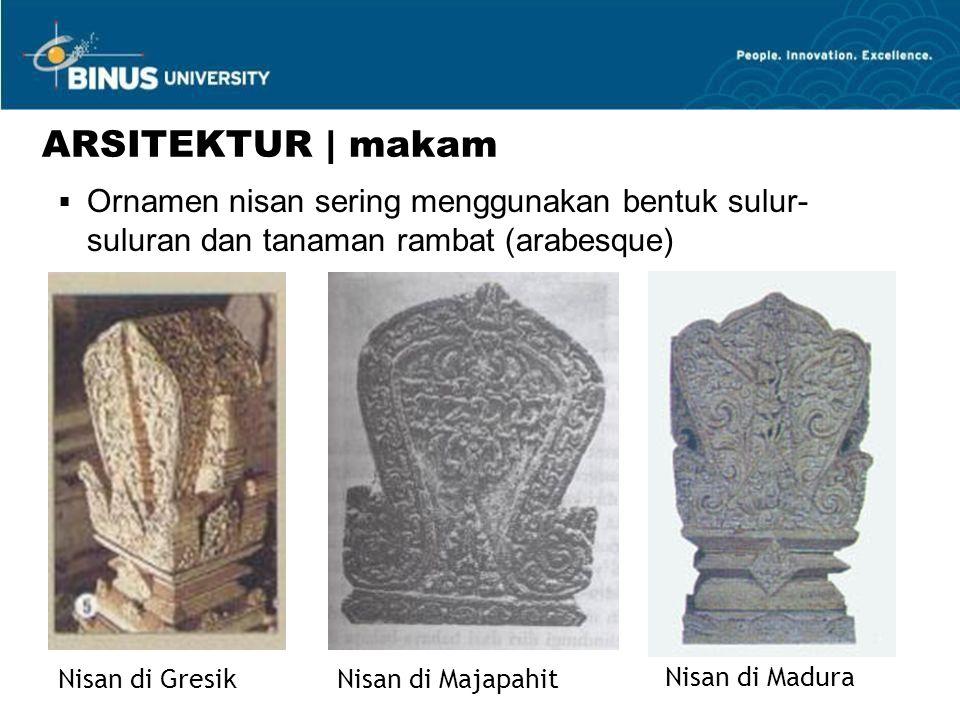 Nisan di GresikNisan di Majapahit Nisan di Madura ARSITEKTUR | makam  Ornamen nisan sering menggunakan bentuk sulur- suluran dan tanaman rambat (arabesque)