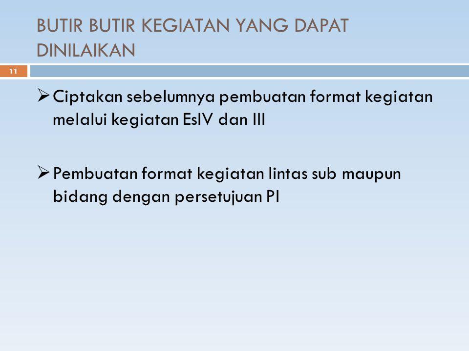 BUTIR BUTIR KEGIATAN YANG DAPAT DINILAIKAN 11  Ciptakan sebelumnya pembuatan format kegiatan melalui kegiatan EsIV dan III  Pembuatan format kegiatan lintas sub maupun bidang dengan persetujuan PI