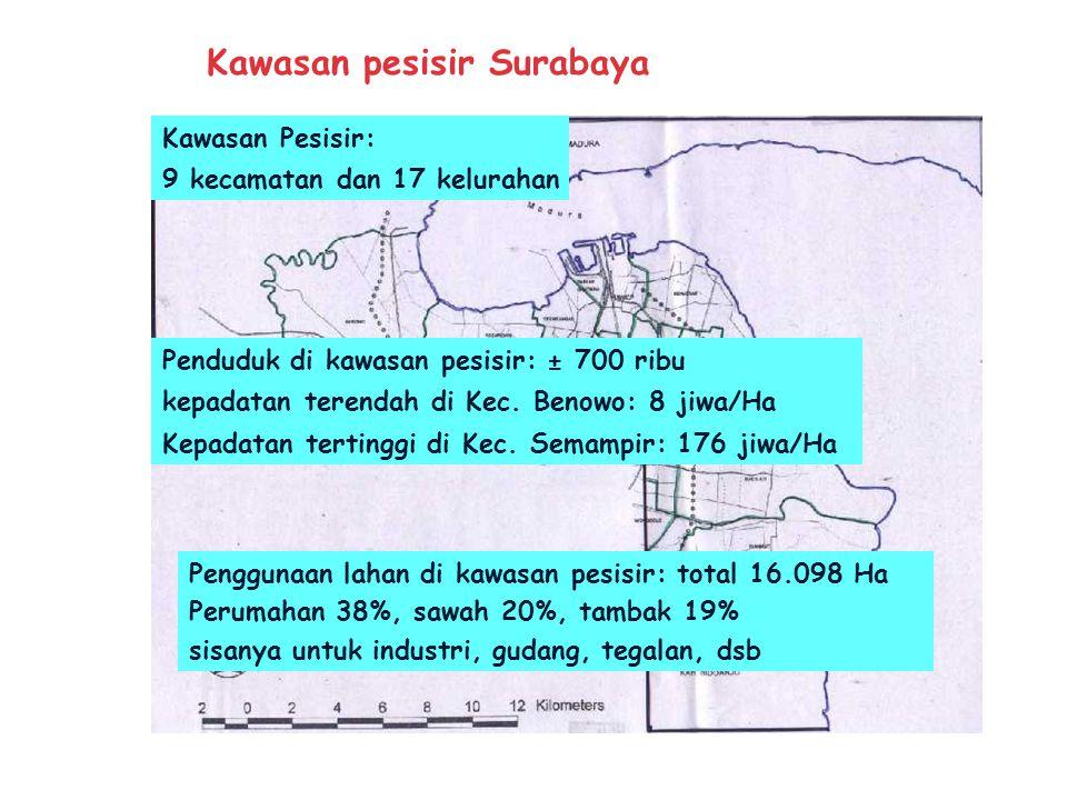 Wilayah Kotamadya Surabaya : 5 Pembantu Walikota 28 Kecamatan 163 kelurahan Luas lahan: 25.919 Ha Penduduk : 2.3 juta (BPS : 1994) Temperatur: 22 - 33