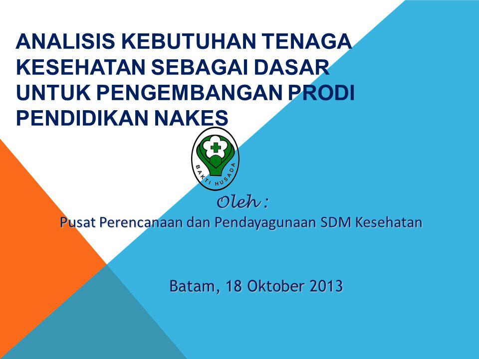 Oleh : Pusat Perencanaan dan Pendayagunaan SDM Kesehatan Batam, 18 Oktober 2013 ANALISIS KEBUTUHAN TENAGA KESEHATAN SEBAGAI DASAR UNTUK PENGEMBANGAN PRODI PENDIDIKAN NAKES