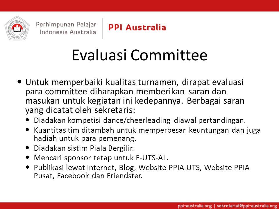 Evaluasi Committee  Untuk memperbaiki kualitas turnamen, dirapat evaluasi para committee diharapkan memberikan saran dan masukan untuk kegiatan ini kedepannya.