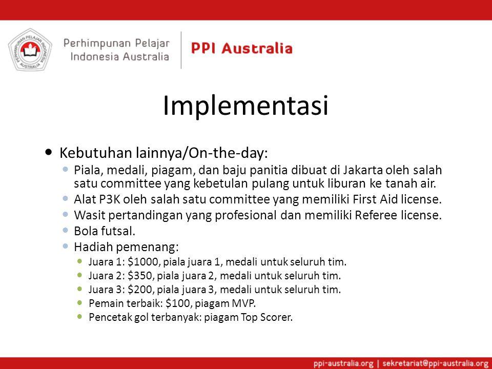 Implementasi  Kebutuhan lainnya/On-the-day:  Piala, medali, piagam, dan baju panitia dibuat di Jakarta oleh salah satu committee yang kebetulan pulang untuk liburan ke tanah air.