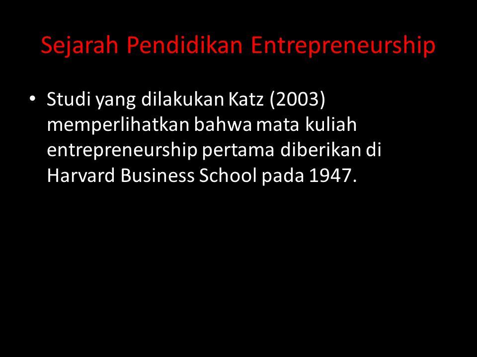 Sejarah Pendidikan Entrepreneurship • Studi yang dilakukan Katz (2003) memperlihatkan bahwa mata kuliah entrepreneurship pertama diberikan di Harvard