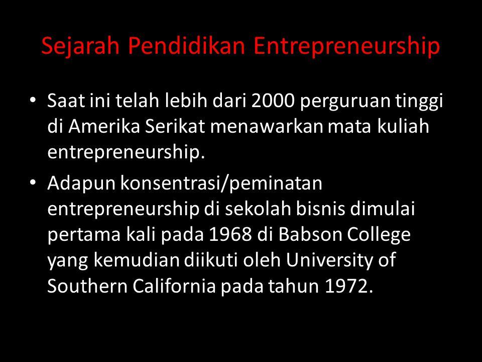 Sejarah Pendidikan Entrepreneurship • Saat ini telah lebih dari 2000 perguruan tinggi di Amerika Serikat menawarkan mata kuliah entrepreneurship. • Ad