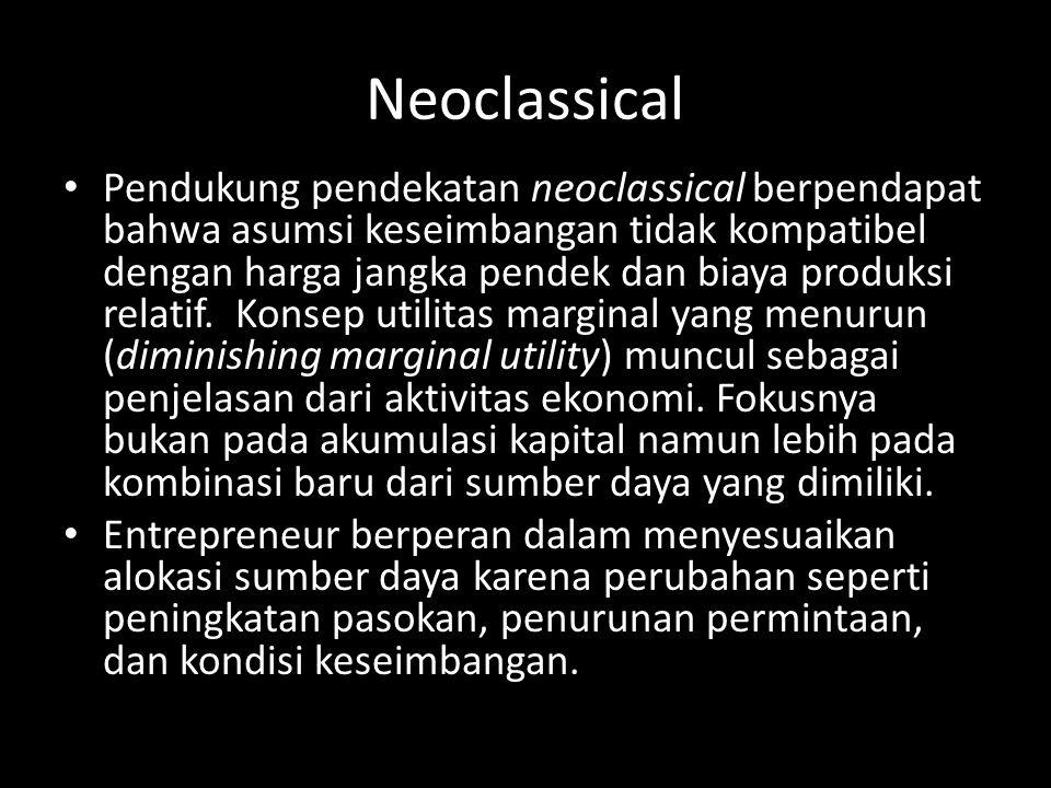 Neoclassical • Pendukung pendekatan neoclassical berpendapat bahwa asumsi keseimbangan tidak kompatibel dengan harga jangka pendek dan biaya produksi