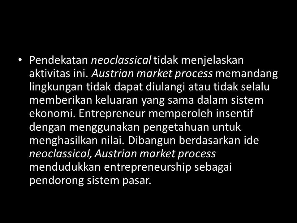 • Pendekatan neoclassical tidak menjelaskan aktivitas ini. Austrian market process memandang lingkungan tidak dapat diulangi atau tidak selalu memberi