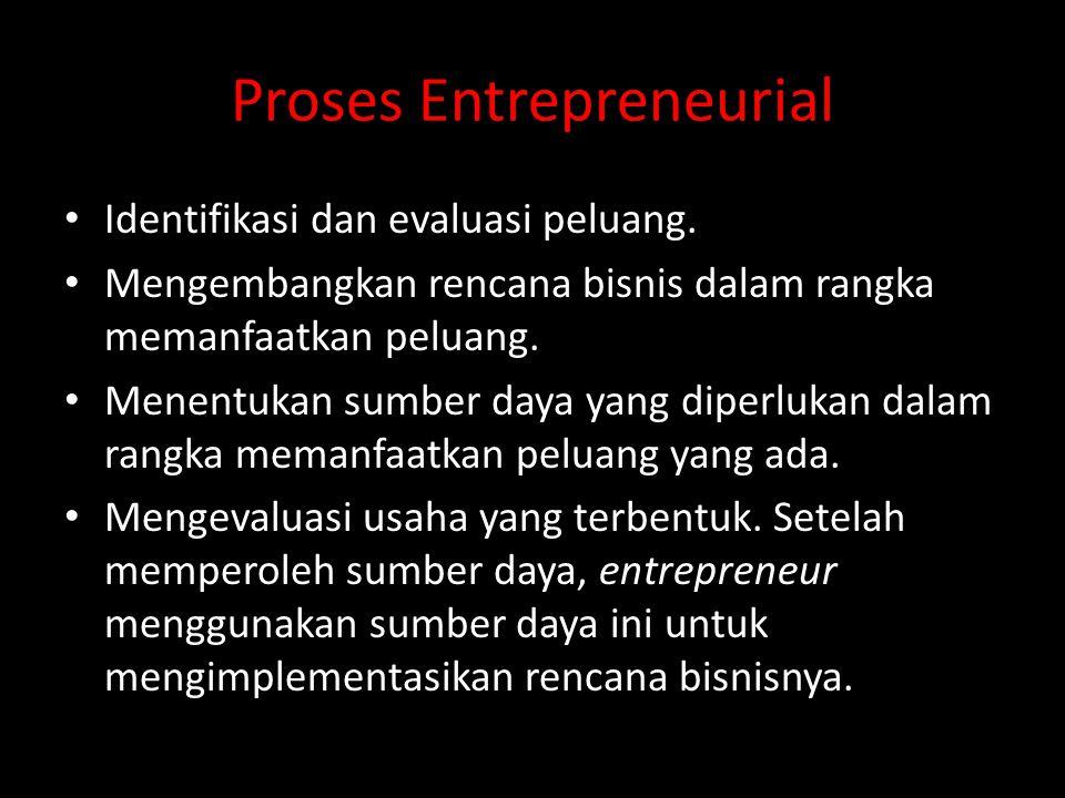 Proses Entrepreneurial • Identifikasi dan evaluasi peluang. • Mengembangkan rencana bisnis dalam rangka memanfaatkan peluang. • Menentukan sumber daya