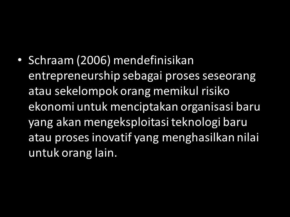 • Schraam (2006) mendefinisikan entrepreneurship sebagai proses seseorang atau sekelompok orang memikul risiko ekonomi untuk menciptakan organisasi ba