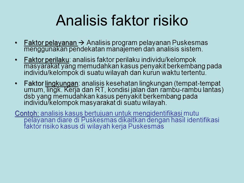 Analisis faktor risiko •Faktor pelayanan •Faktor pelayanan  Analisis program pelayanan Puskesmas menggunakan pendekatan manajemen dan analisis sistem